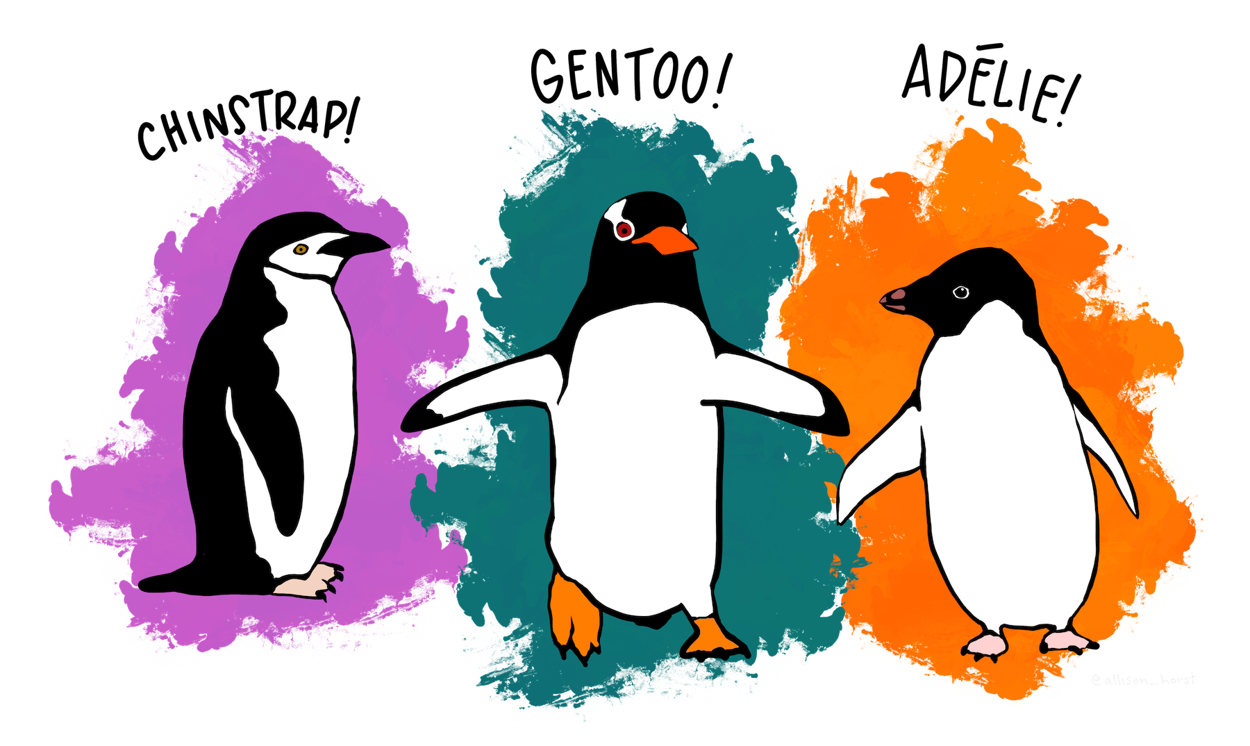 Allison Horst illustration of 3 penguin species