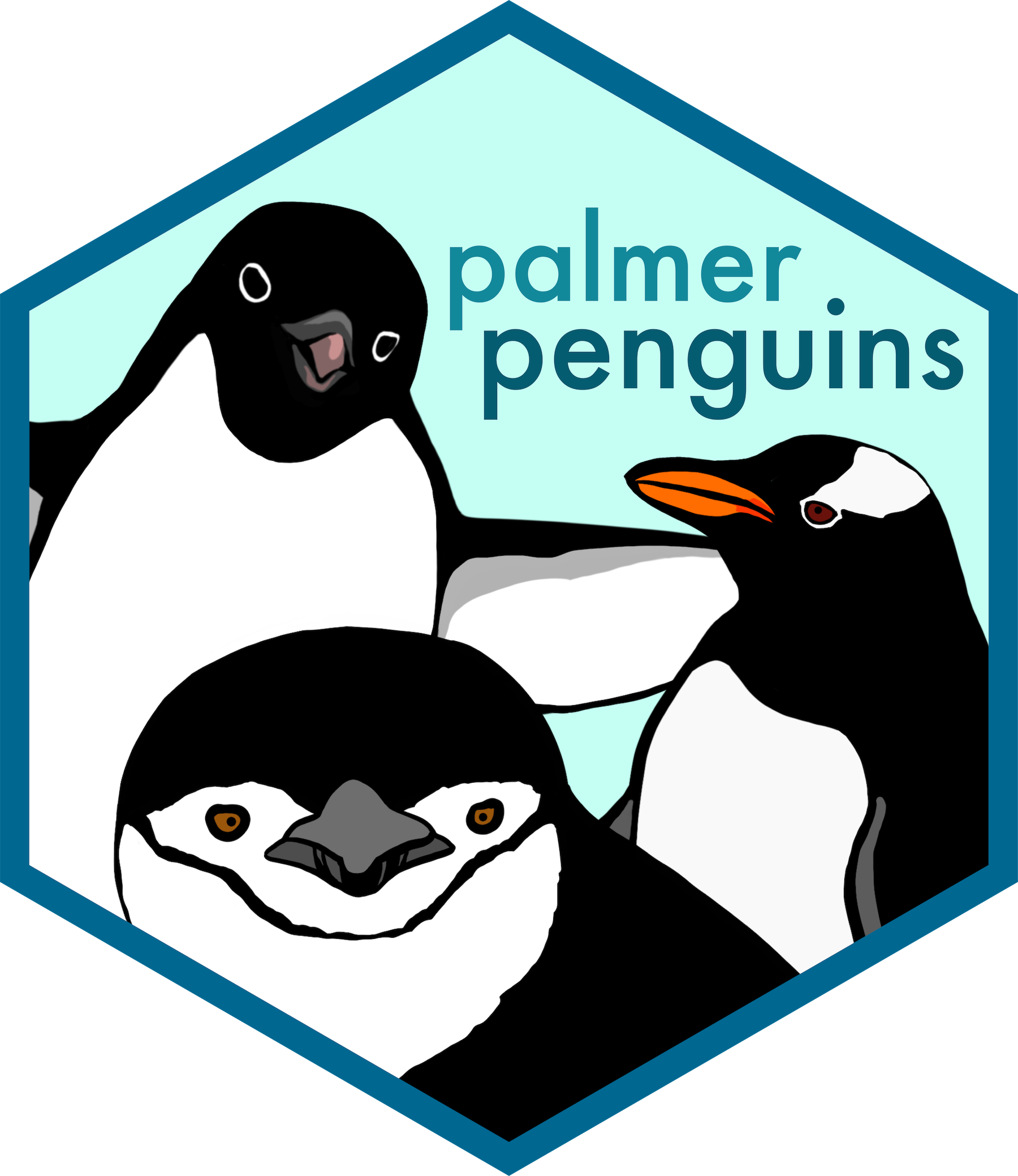Palmer penguins hex logo